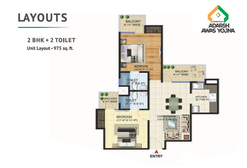 Amrapali Adarsh Awas Yojna Noida floor plan