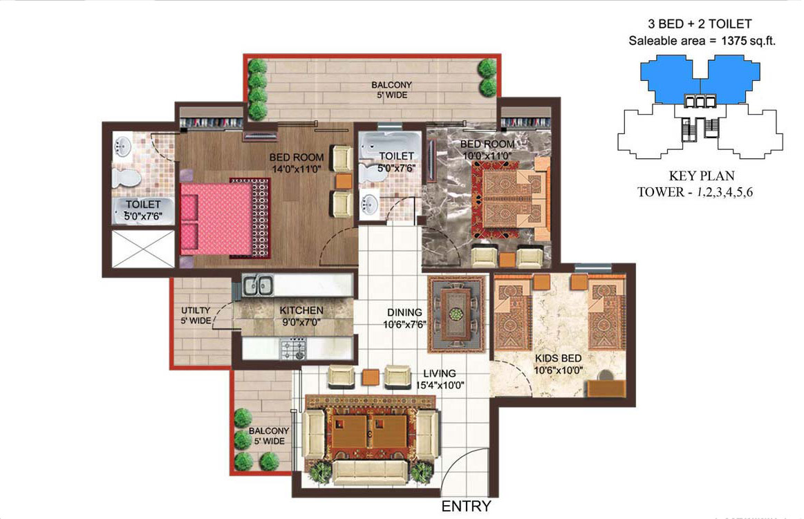 Amrapali Crystal Homes Noida floor plan