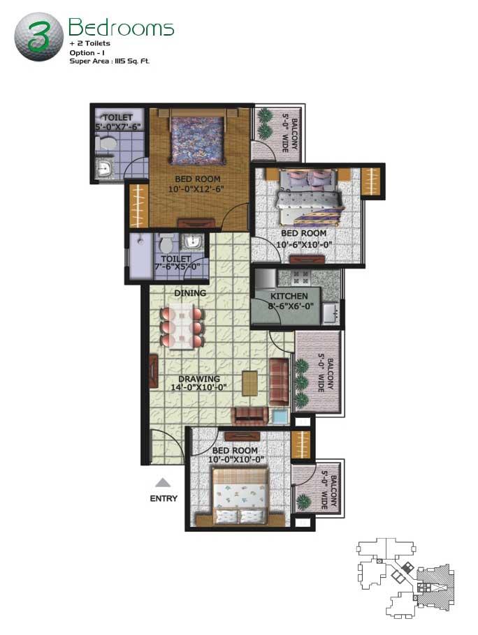 Amrapali Kingswood Greater Noidafloor plan
