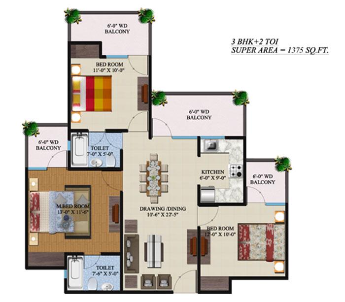 Supertech Regina Towers Noida Extension floor plan