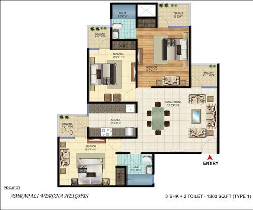 Amrapali Verona Heights Greater Noidafloor plan